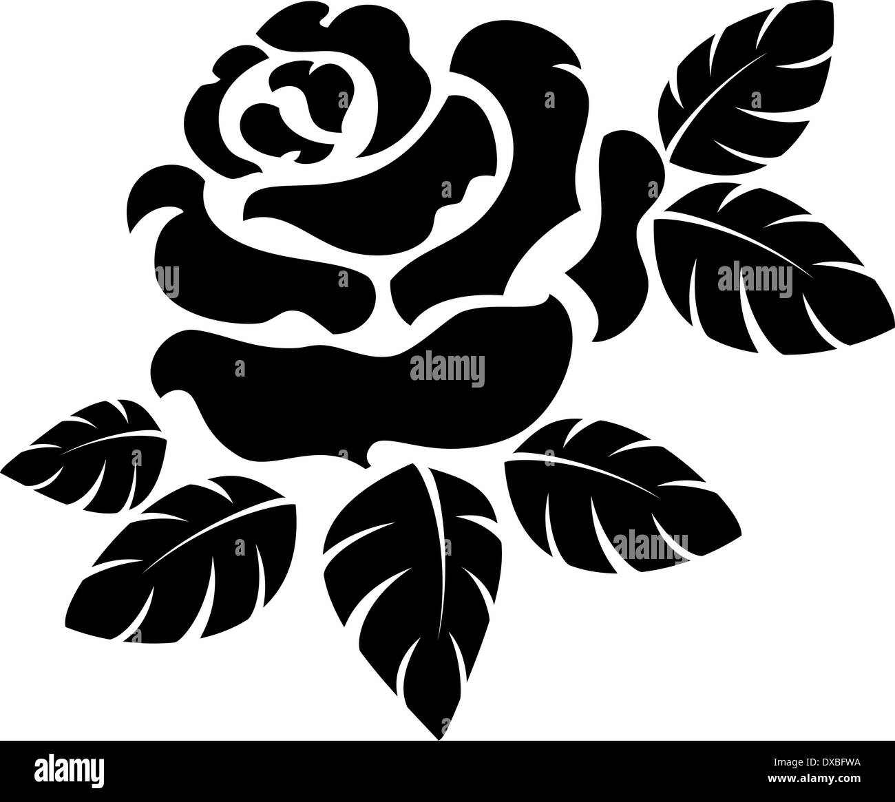 Vector rose silhouette isolated on white stock photo royalty free vector rose silhouette isolated on white voltagebd Choice Image