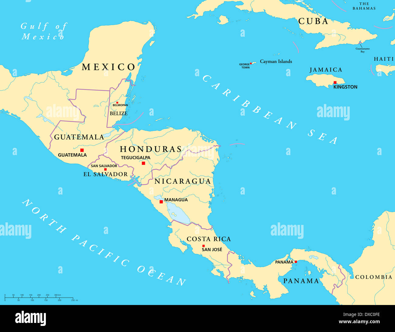 Political Map Of Central America With Capitals, National Borders, Most  Important Rivers And Lakes