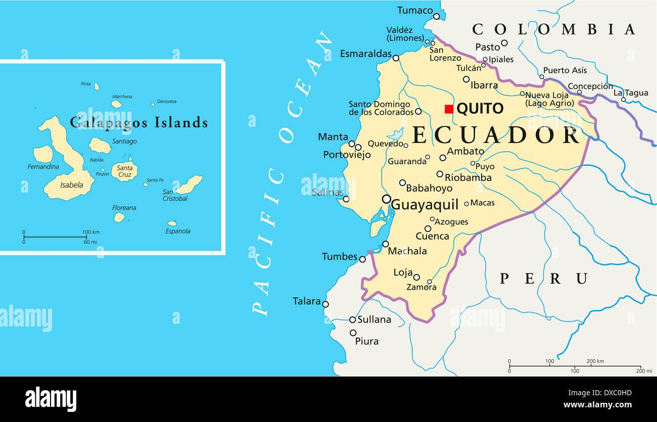 Political Map Of Ecuador And Galapagos Islands With The Capital - Capital of ecuador