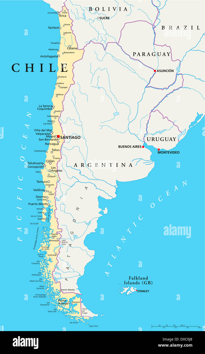 Political Map Of Chile With The Capital Santiago National Borders - Political map of chile