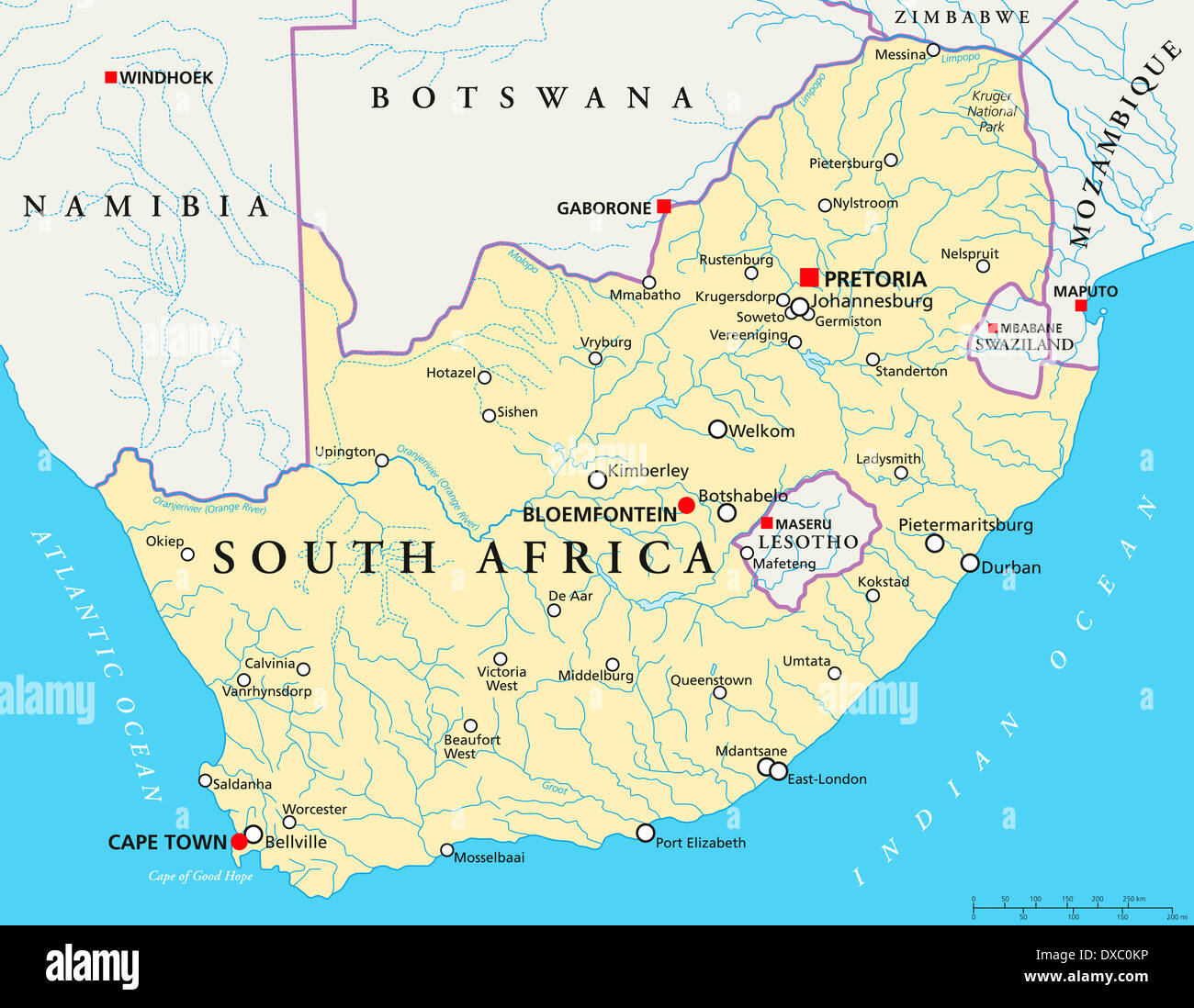 Political map of South Africa with capitals Pretoria Bloemfontein