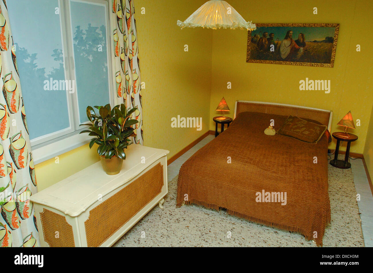 Stock Photo   apartment in 50s style  bedroom. apartment in 50s style  bedroom Stock Photo  Royalty Free Image