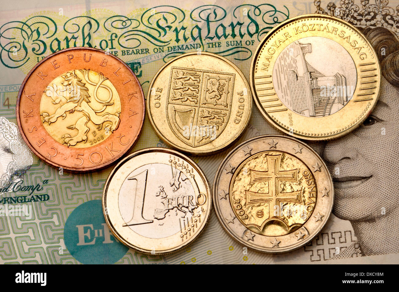 European Bimetallic Coins British Pound Stock Photo Royalty