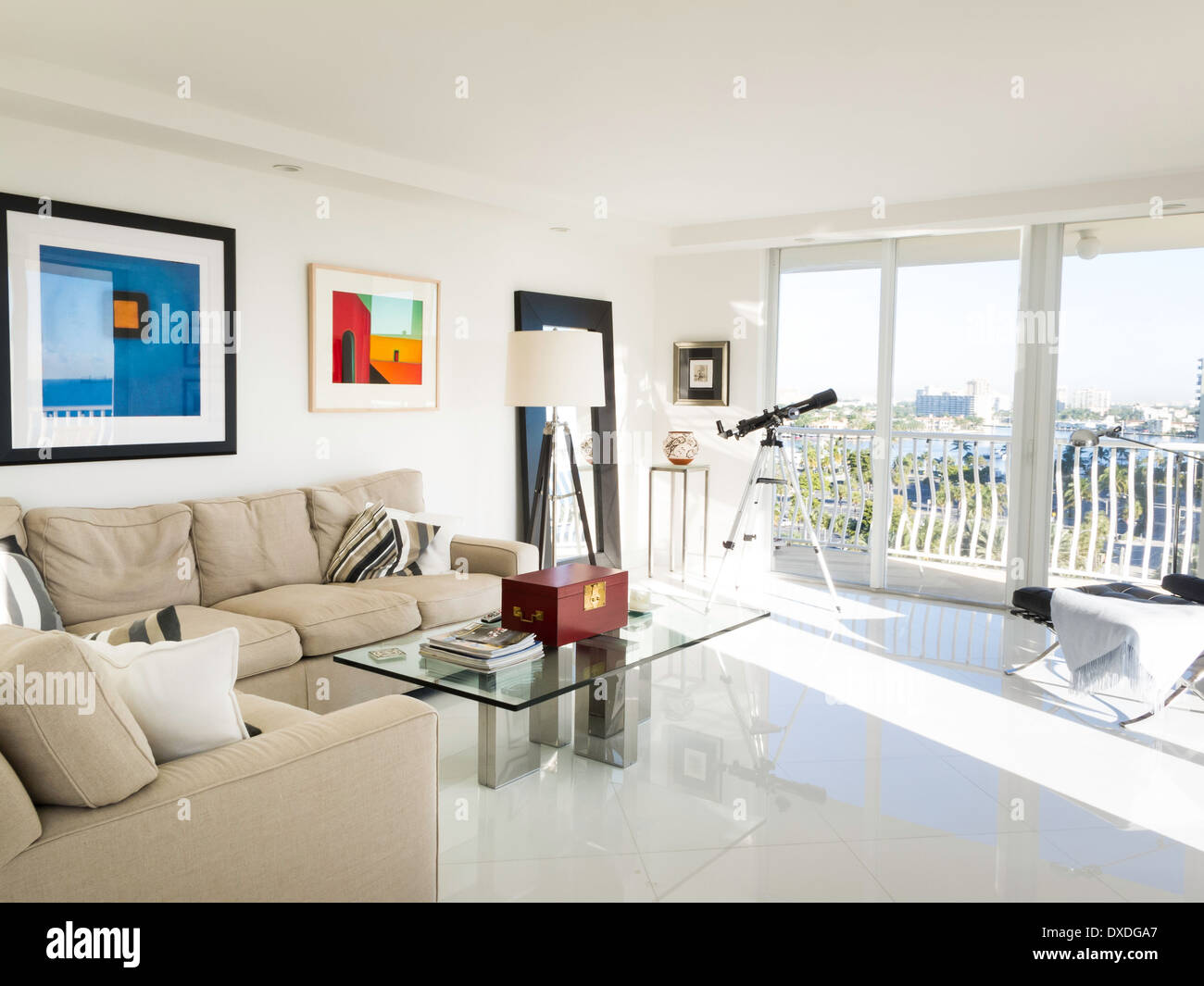 Showcase Luxury Condo Living Room And Balcony Fort Lauderdale Fl Stock Photo Royalty Free