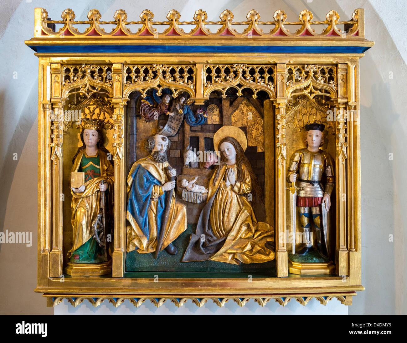 nativity scene church icon in malbork castle poland stock photo