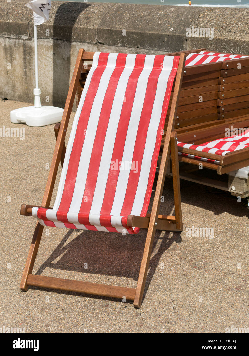 Beautiful Red And White Striped Deck Chairs For Hire Cromer Seafront England