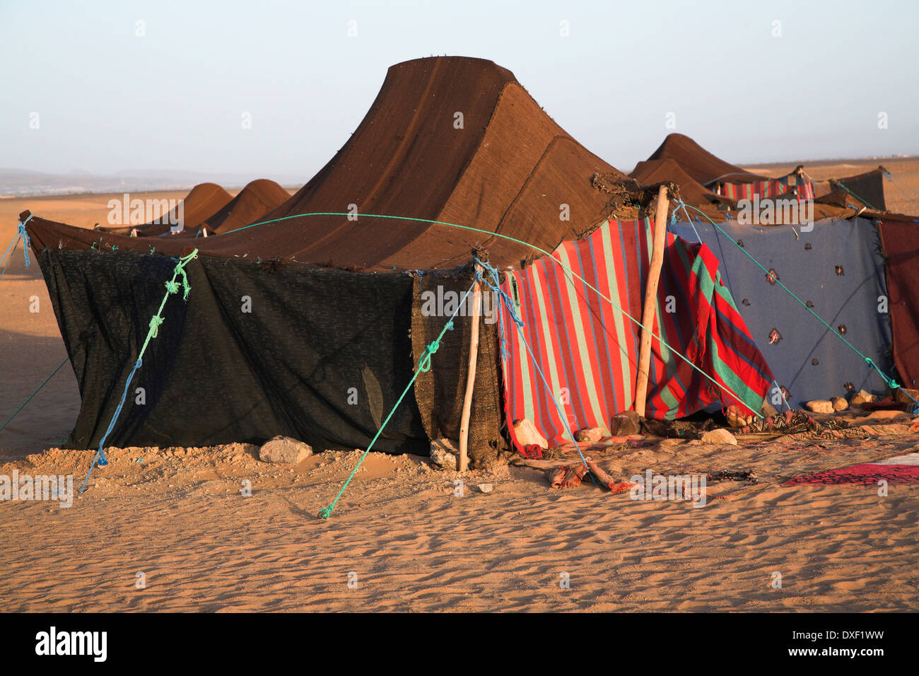 Nomadic Berber tents used as overnight c& by tourist groups camel trekking Sahara desert near Zagora Morocco north Africa & Nomadic Berber tents used as overnight camp by tourist groups ...