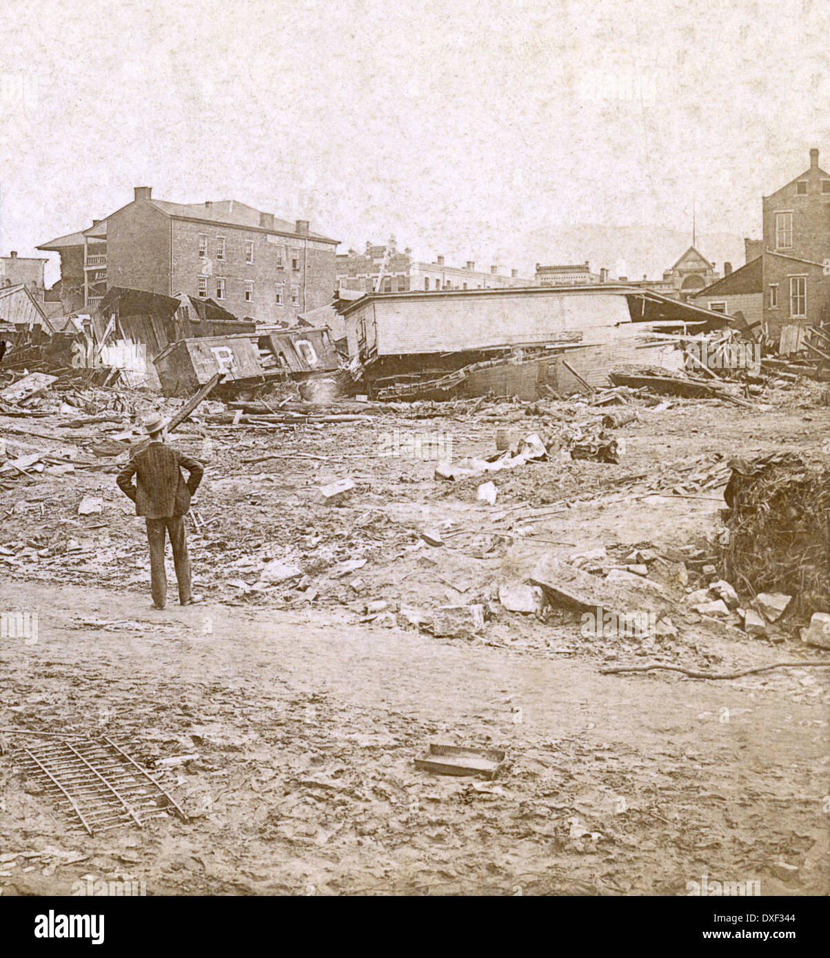 Circa 1890 antique photograph, the Great Johnstown Flood May 31 ...