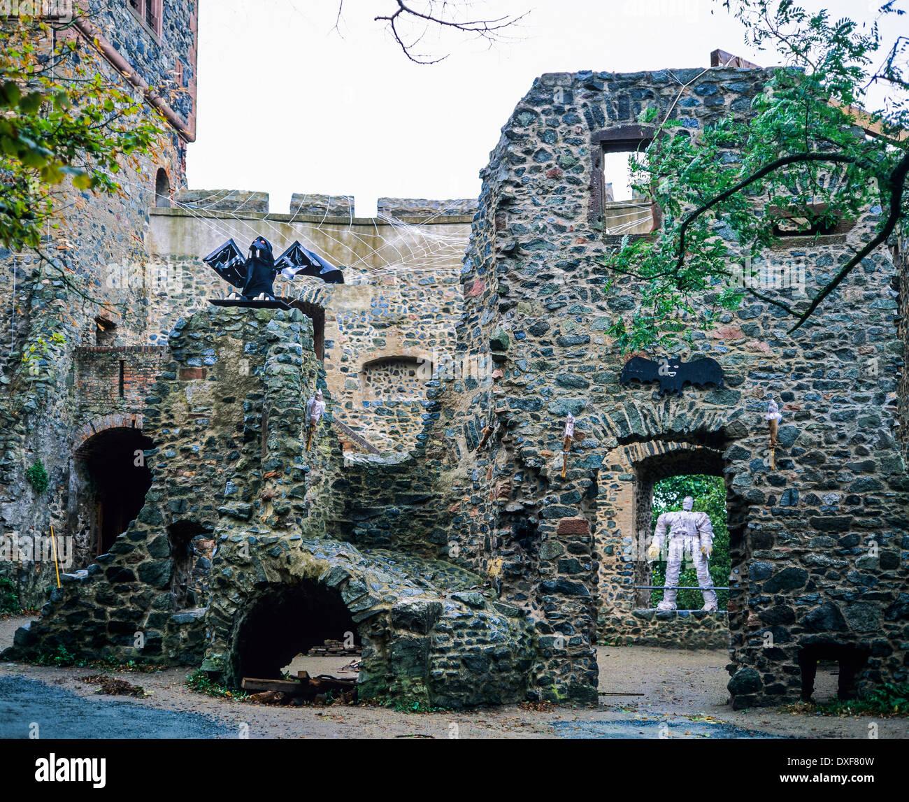 burg frankenstein castle 13th century with halloween decoration