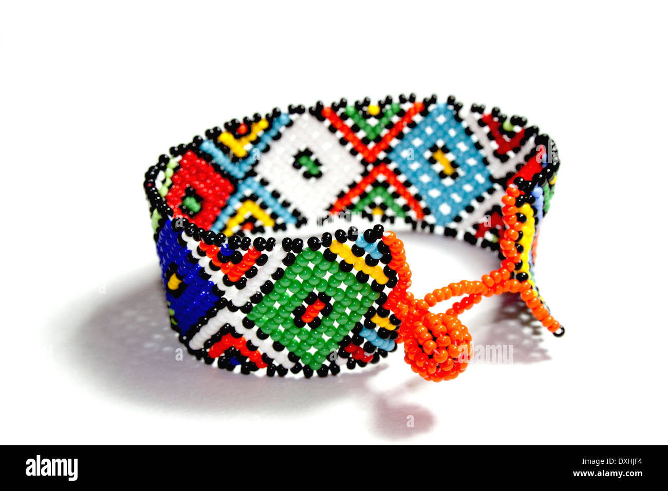 isolated single traditional bright bead work Zulu bracelet Stock ...