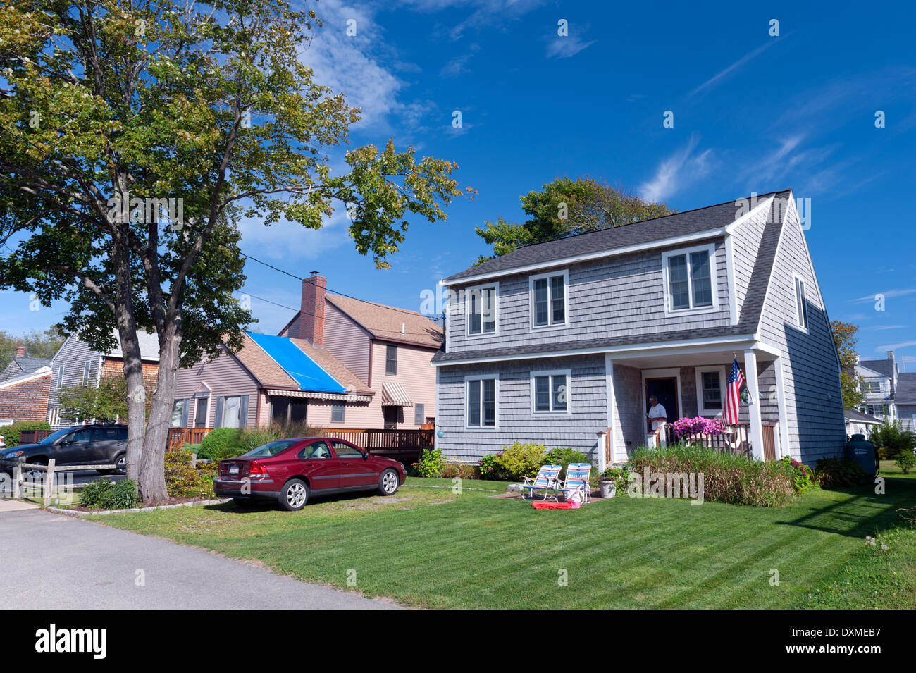 Neat Two- Story Shingle Tiled House In Moody Beach, Maine