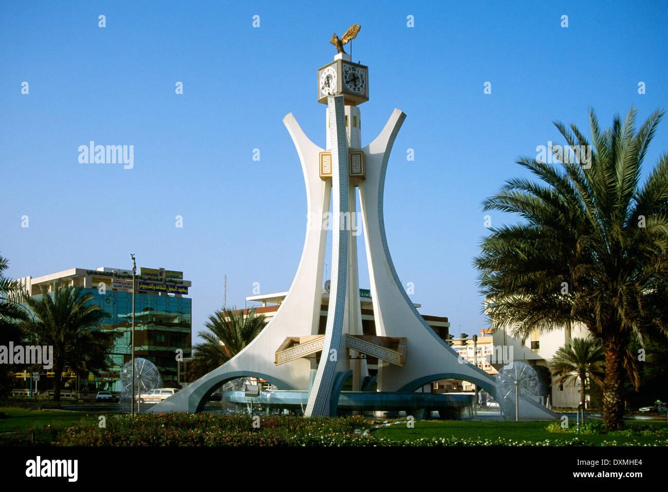 Abu dhabi uae al ain 1994 clock tower roundabout stock for Diwan roundabout al ain