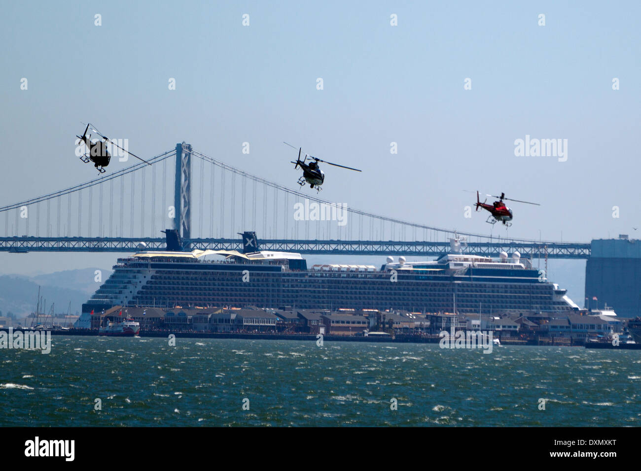 Three Helicopters Flying In Formation In Front Of A Cruise Ship - Flying cruise ship