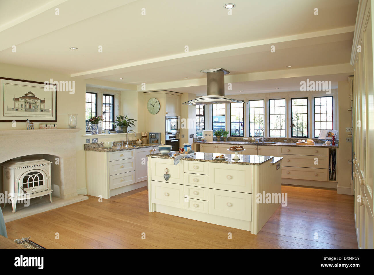 A Large Modern Cream Country Kitchen In A Home In The Uk Stock Photo