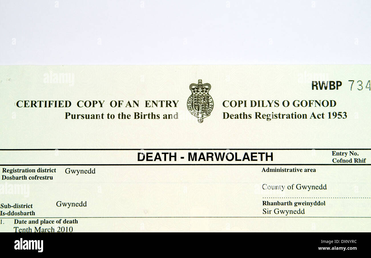 Death certificate in english and welsh stock photo 68094976 alamy death certificate in english and welsh 1betcityfo Images