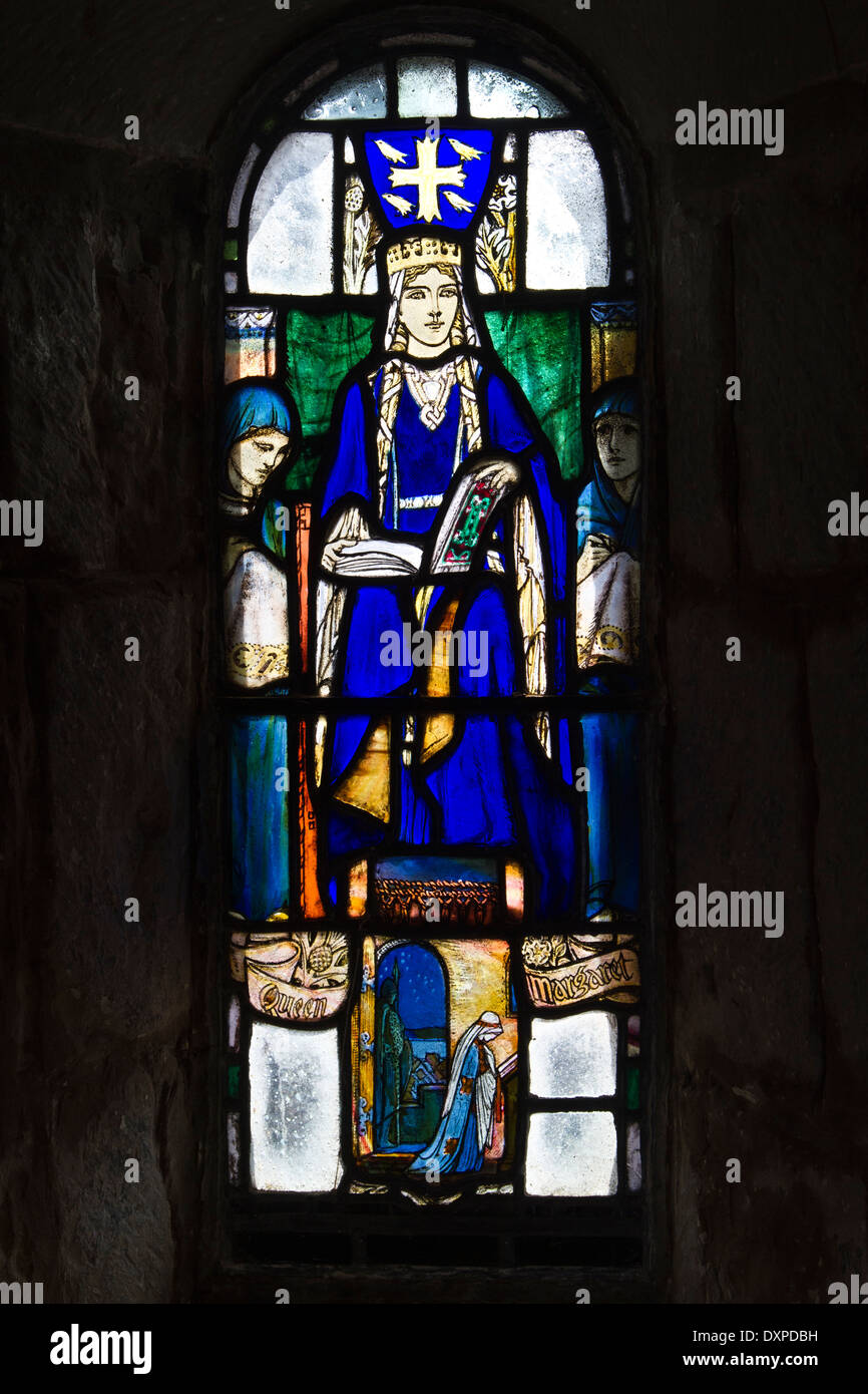 stained glass window depicting queen margaret of scotland in the