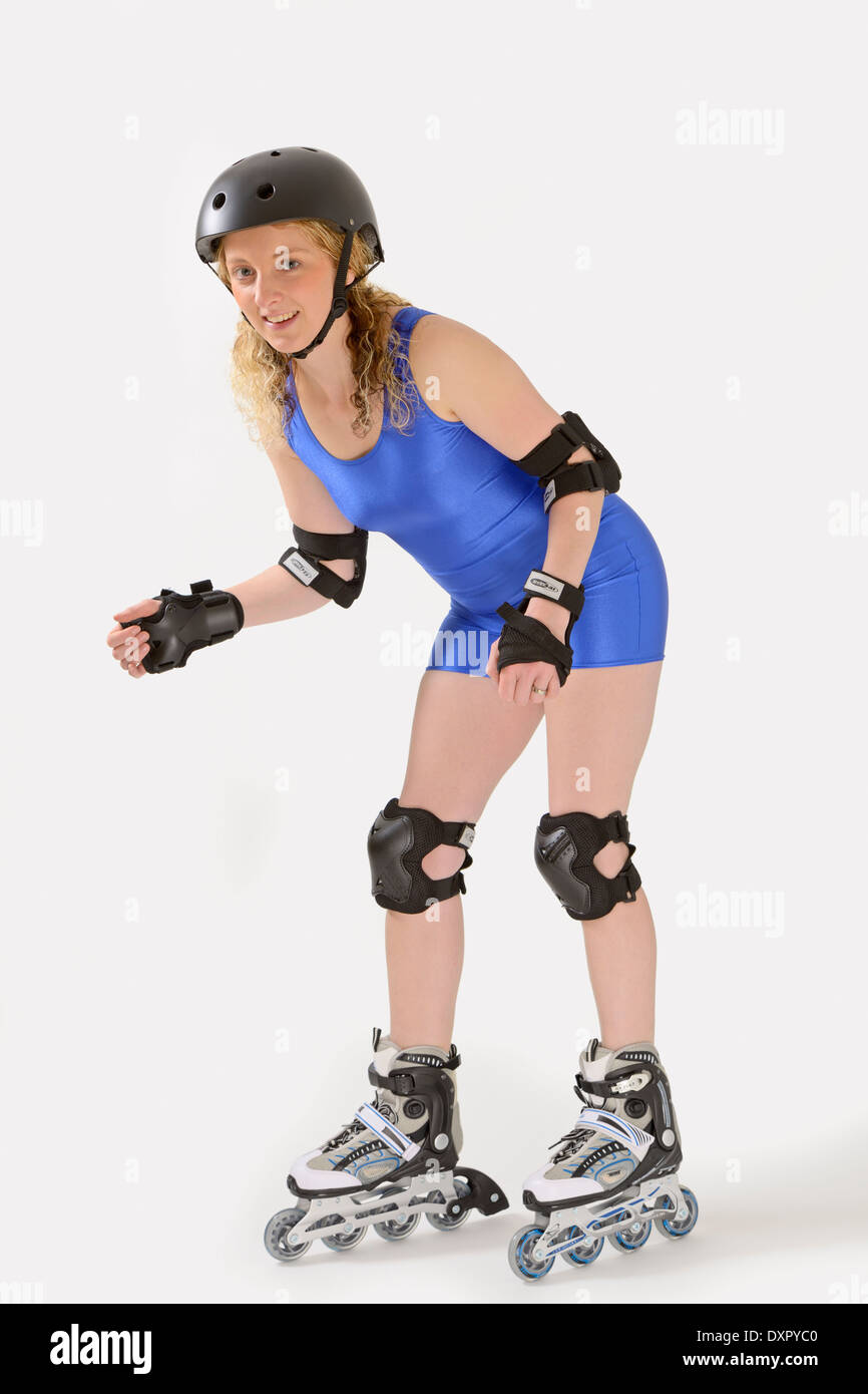 Sidewalk sport lane roller skate shoes - Young Woman Wearing A Shiny Spandex Unitard On Rollerblades Wearing A Full Set Of Protectors