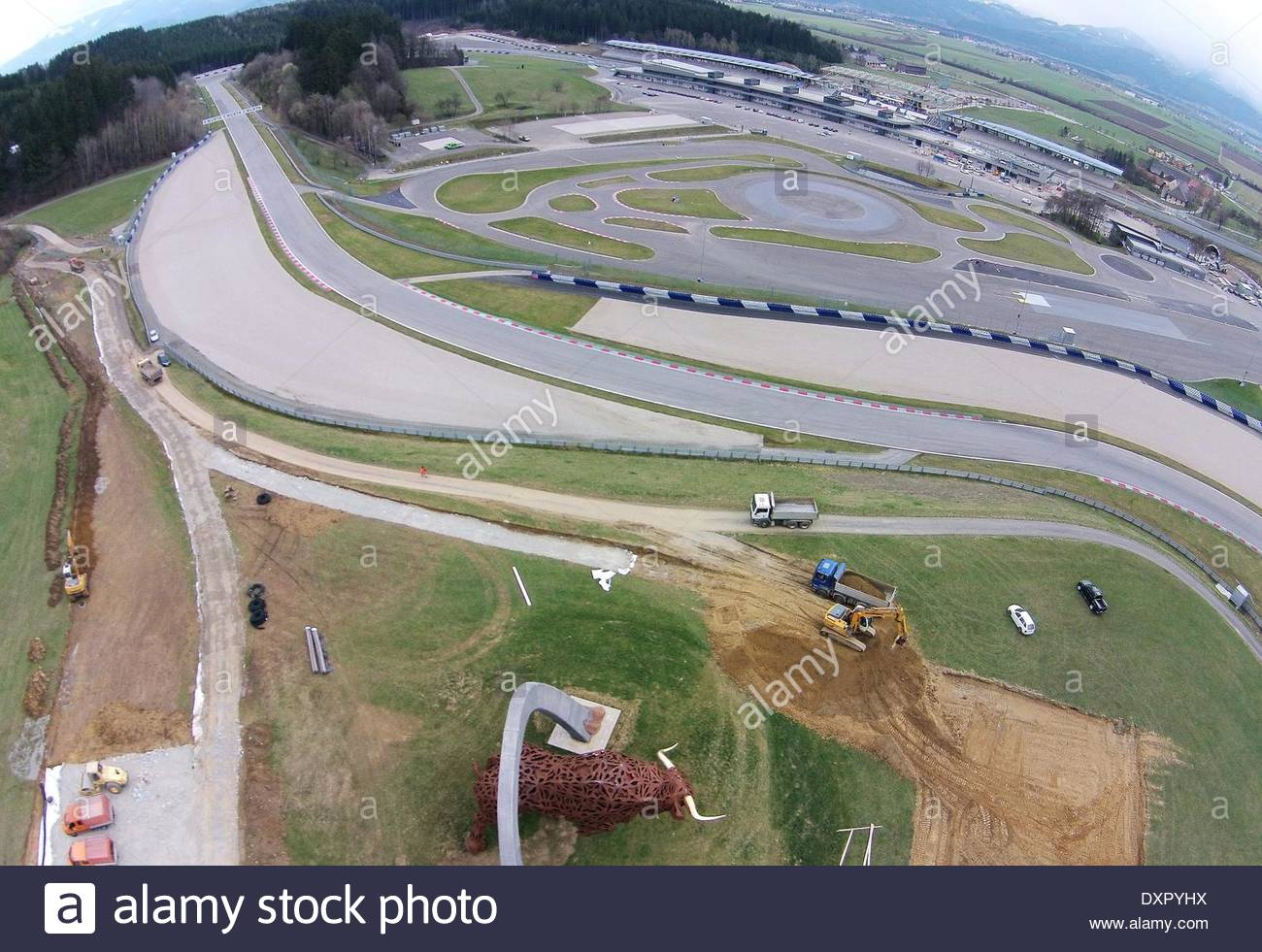 stock photo epa04141167 a general view over the race track as construction works continue at the red bull ring race track in spielberg austria austria view red bull
