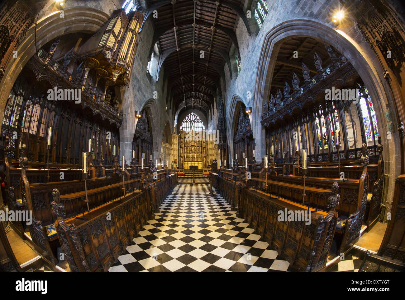 view of the interior of a church with a checkerboard floor through a stock photo royalty free. Black Bedroom Furniture Sets. Home Design Ideas