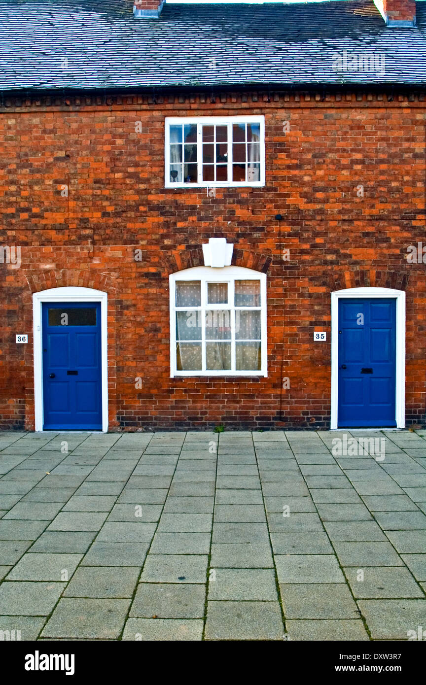 Two brick cottages with blue front doors. in Henley Street Stratford upon Avon & Two brick cottages with blue front doors. in Henley Street Stratford ...