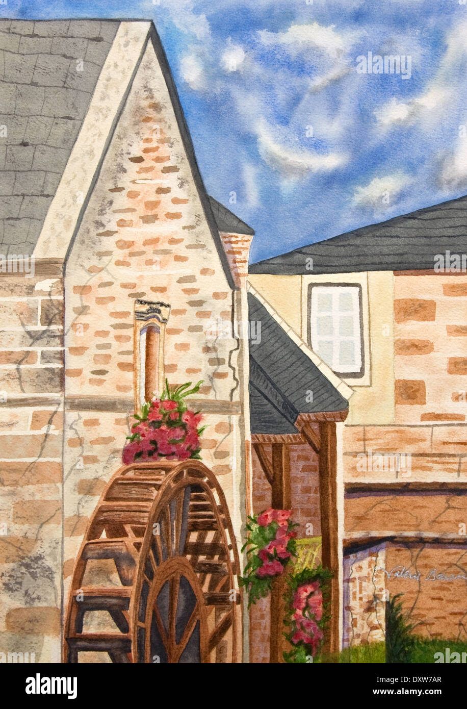 History of watercolor art - Stock Photo This Watercolor Art Is A Painting Of An Old French Mill Used In History To Mill Grain And Process Other Products