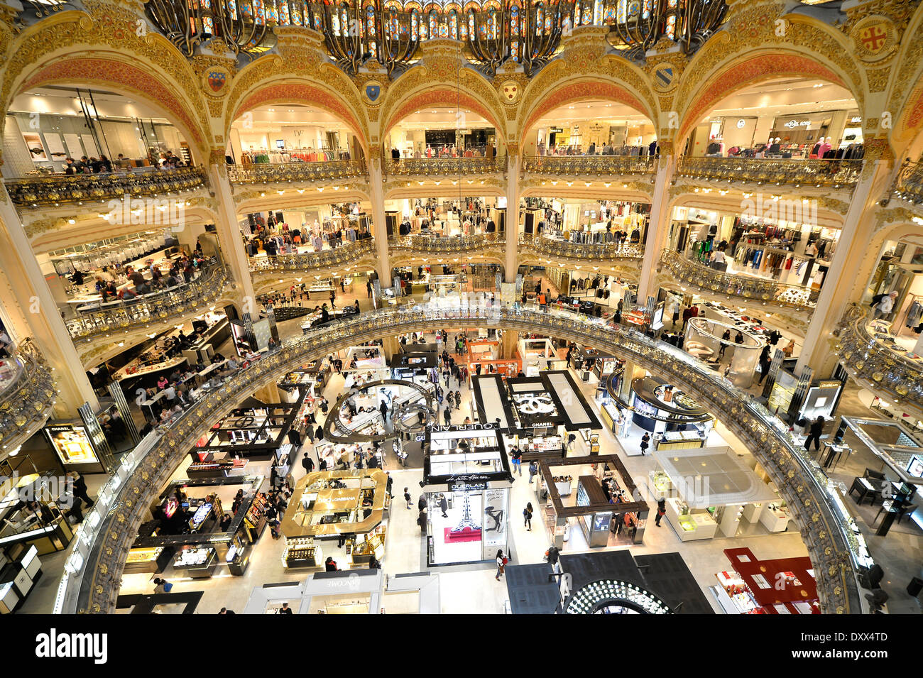 galeries lafayette department store paris le de france france stock photo royalty free. Black Bedroom Furniture Sets. Home Design Ideas