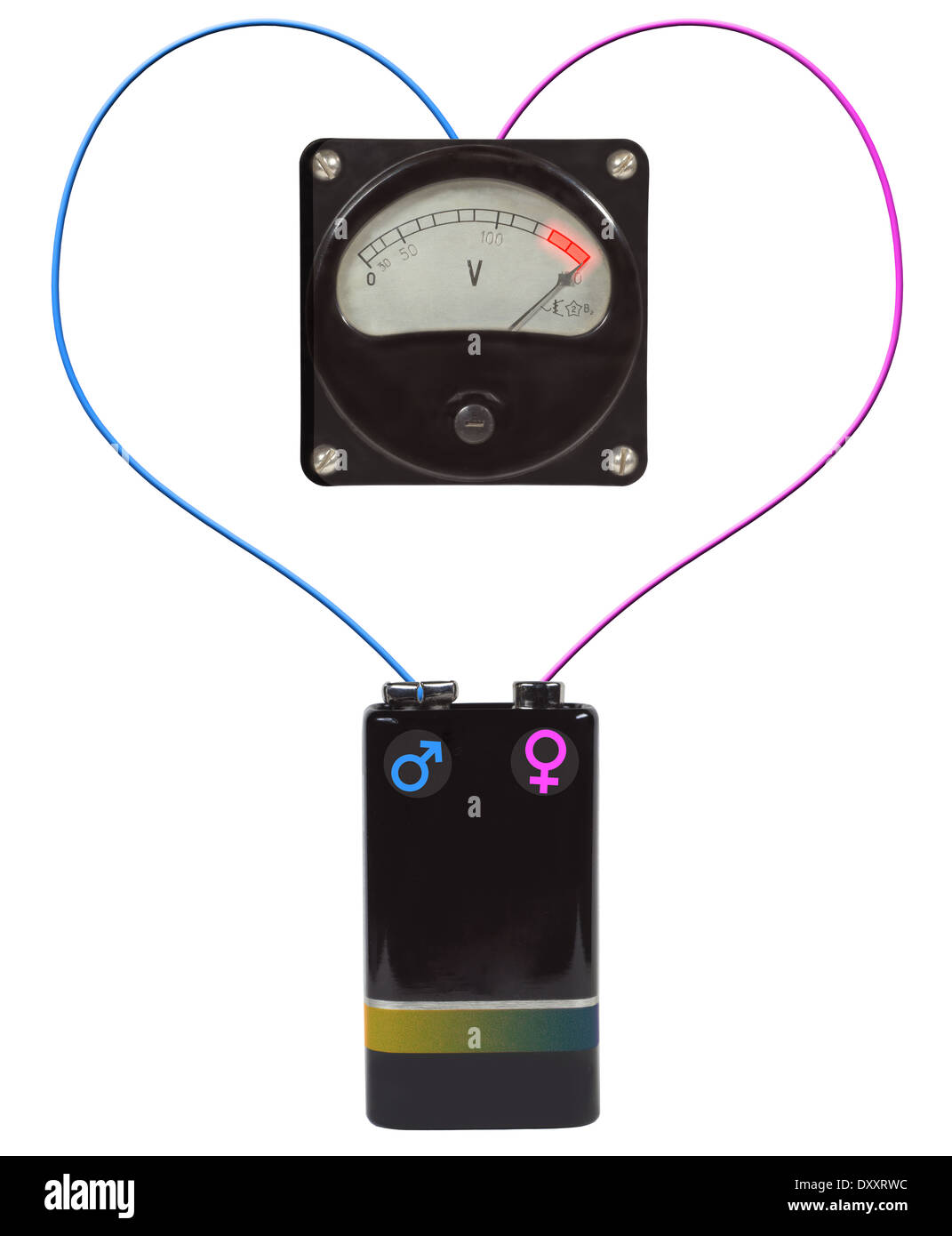 high voltage as symbol of valentine's day Stock Photo ...