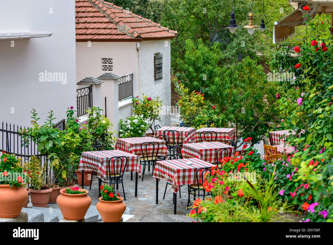 restaurant tables on street terrace with beautifull flowers around stock photo royalty free. Black Bedroom Furniture Sets. Home Design Ideas