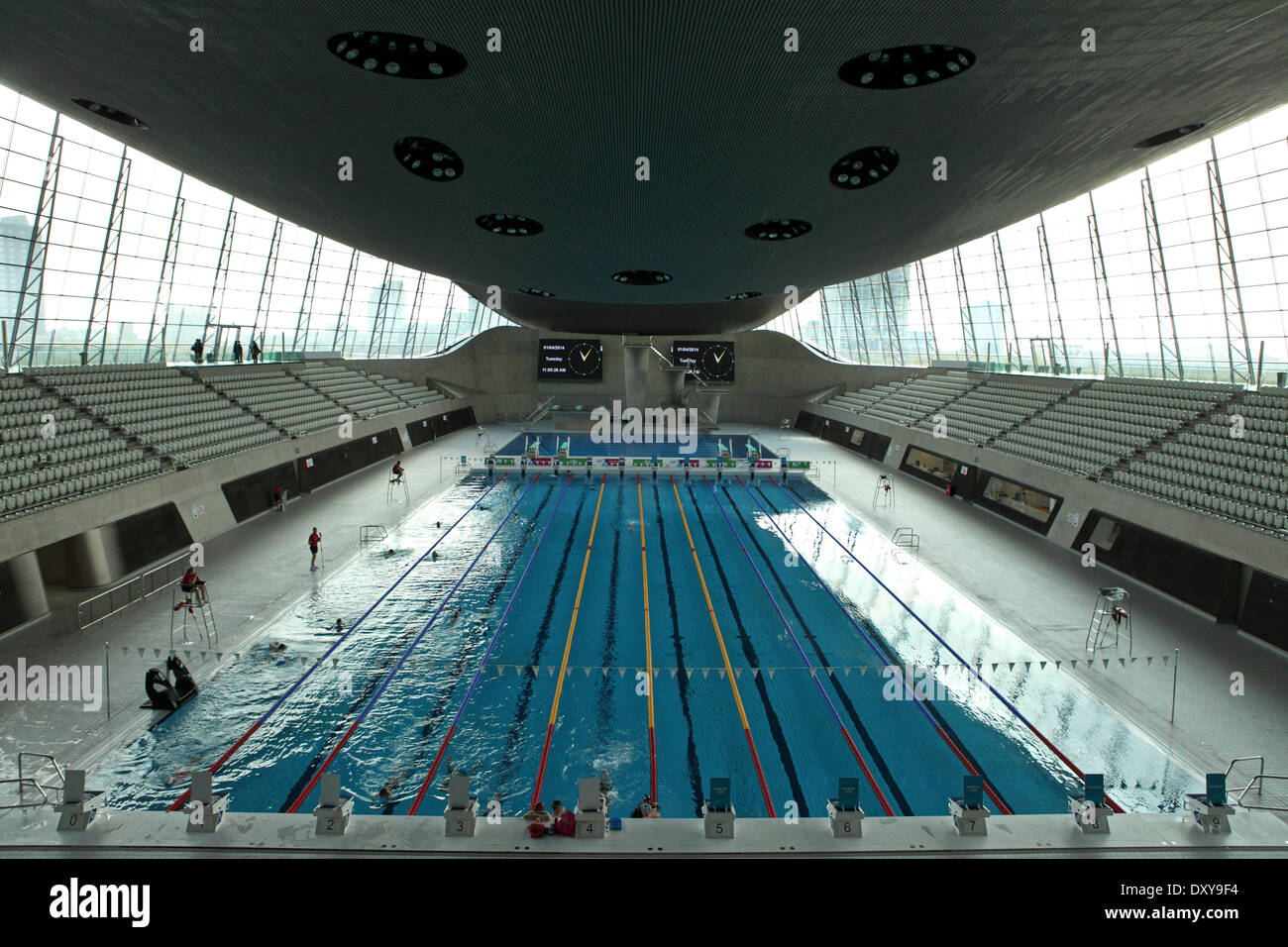 stock photo swimming pool at the aquatics centre in the queen elizabeth olympic park in london united kingdom the south side of the 560 acre park - Olympic Swimming Pool 2014
