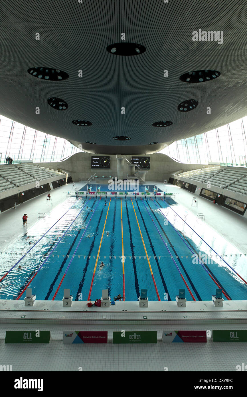 Swimming Pool At The Aquatics Centre In The Queen Elizabeth Olympic Park In  London, United