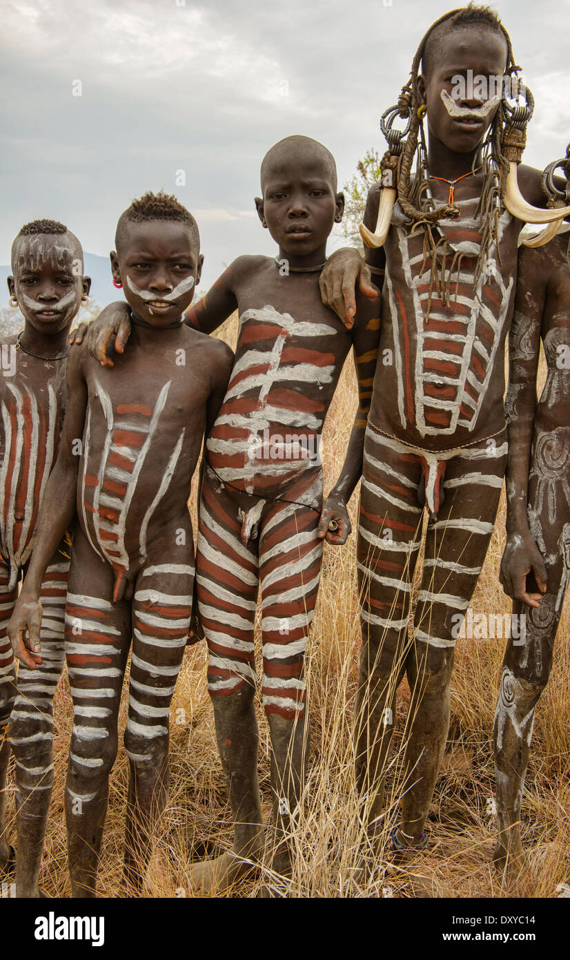 mursi Boy Mursi boys in the Lower Omo Valley of Ethiopia