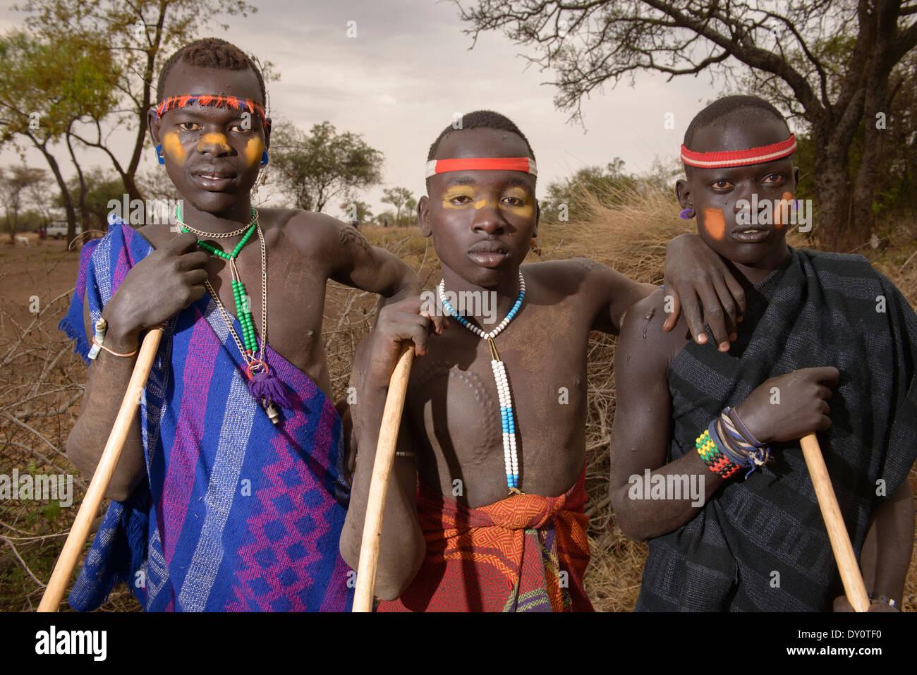 mursi Boy Mursi boys in the Lower Omo Valley of Ethiopia - Stock Image