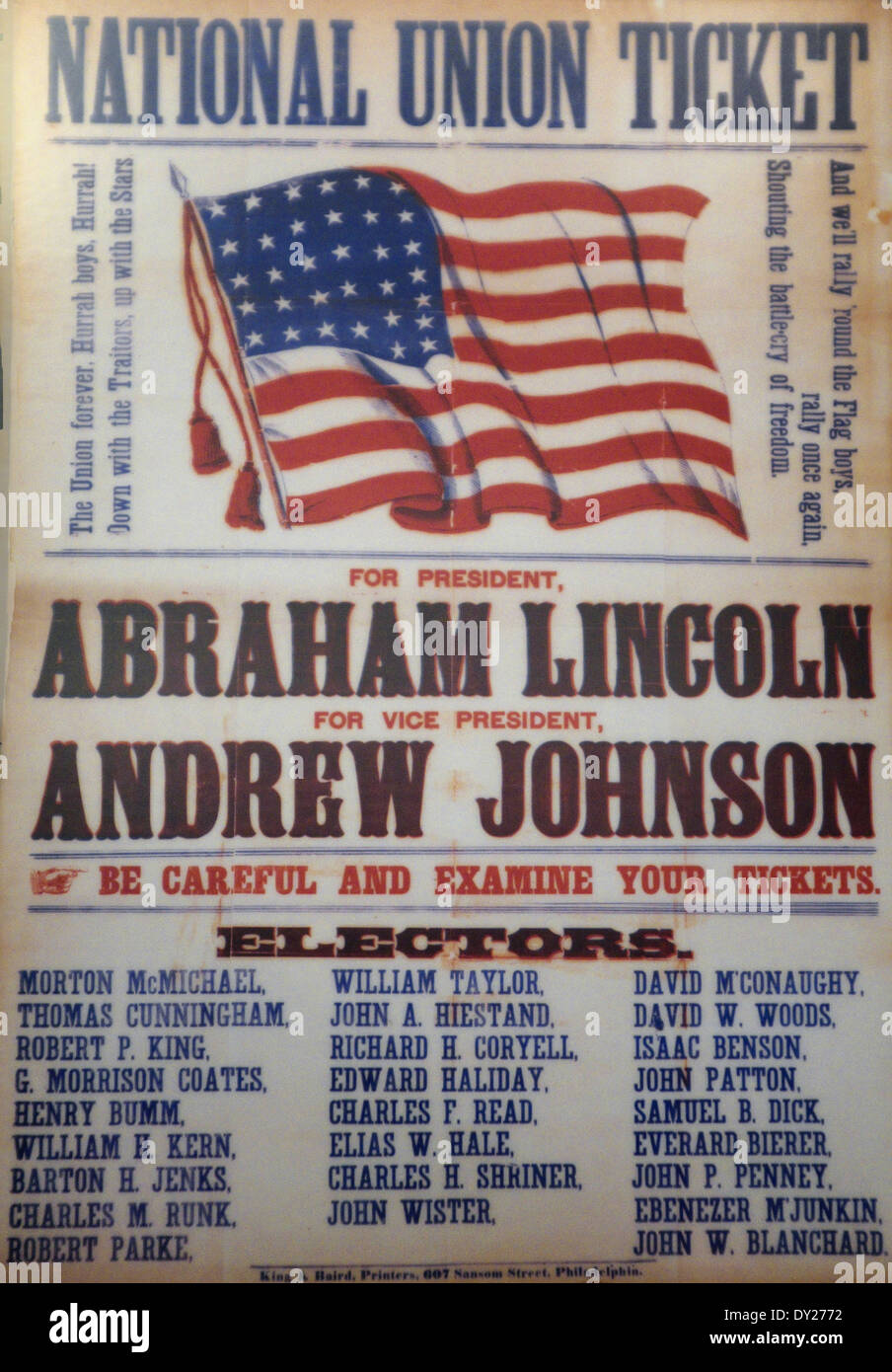 1864 Usa Presidential Poster National Union Ticket