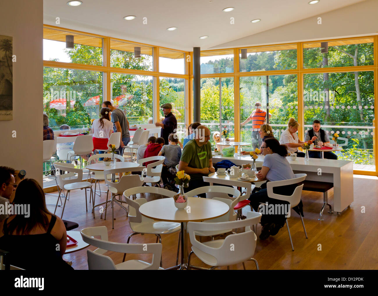 visitor centre cafe at creswell crags a limestone gorge containing