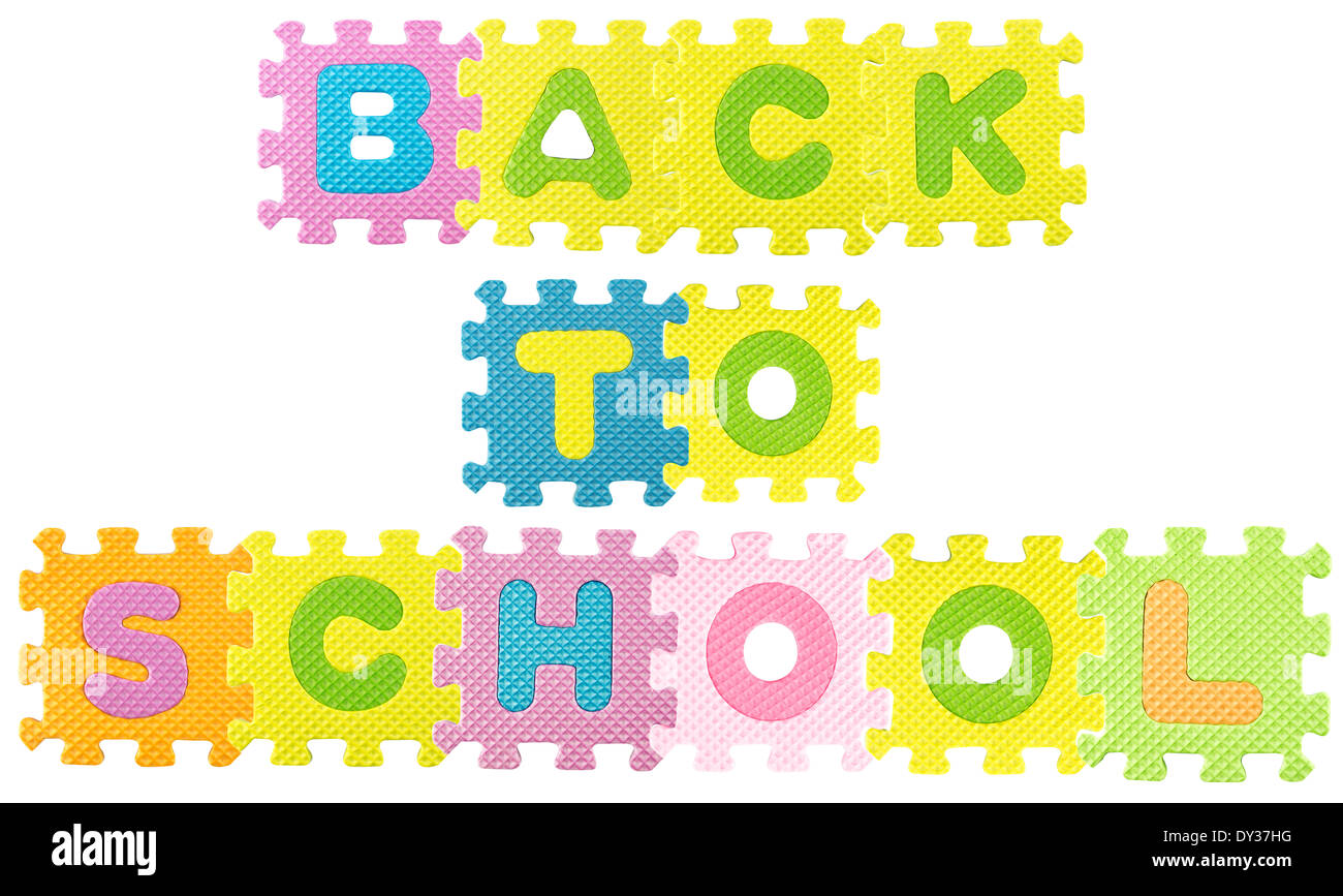 Worksheet Alphabet Sentence back to school sentence created from alphabet puzzle isloated on white background with clipping path