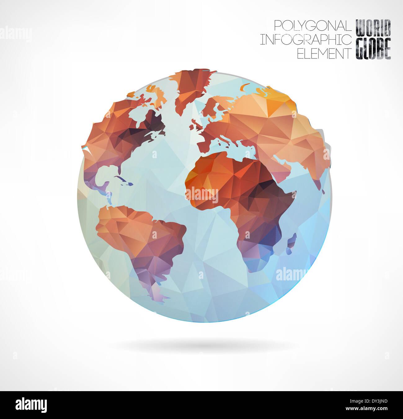 Vector World Globe, 3d Triangular Map Of The Earth. Modern ...