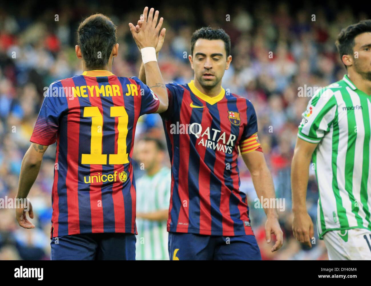 Barcelona Spain 5th Apr 2014 Neymar Jr and Xavi Hernandez in