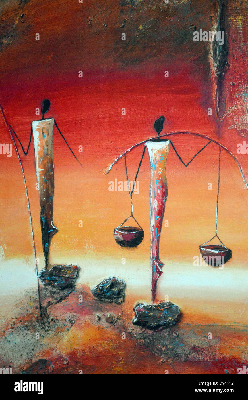 African Art  Abstract Painting Of Two African Woman At A