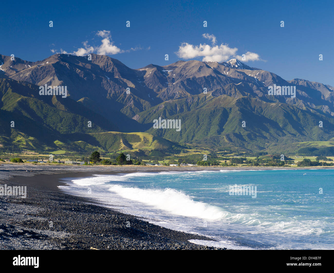 beautiful view of the beach at kaikoura canterbury new zealand