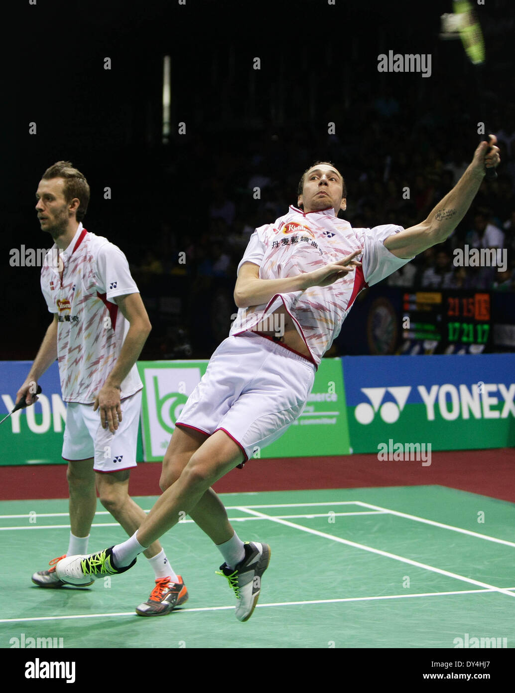 New Delhi India 6th Apr 2014 Mathias Boe R and Carsten