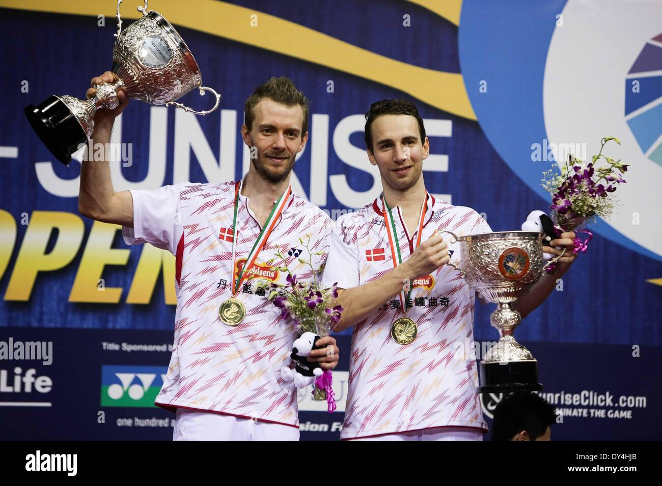 New Delhi India 6th Apr 2014 Mathias Boe L and Carsten