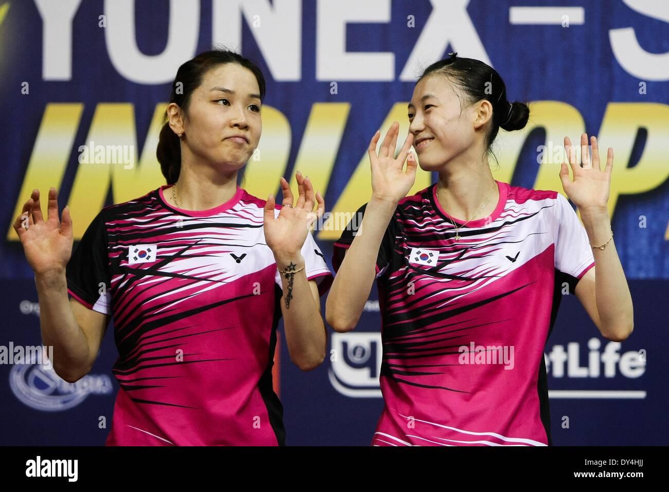 New Delhi India 6th Apr 2014 Jung Kyung Eun L and Kim Ha Na