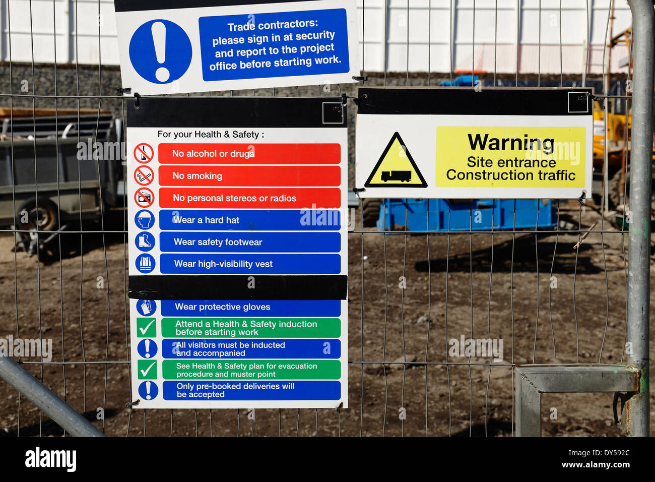 health and safety notices at the entrance to a construction site uk stock photo royalty free