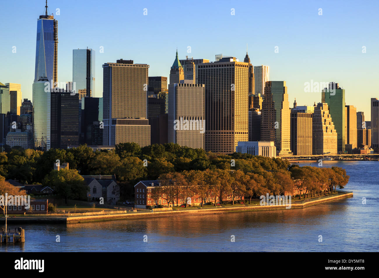 Manhattan Cityscape Looking Over Governors Island New York USA - Governors of new york