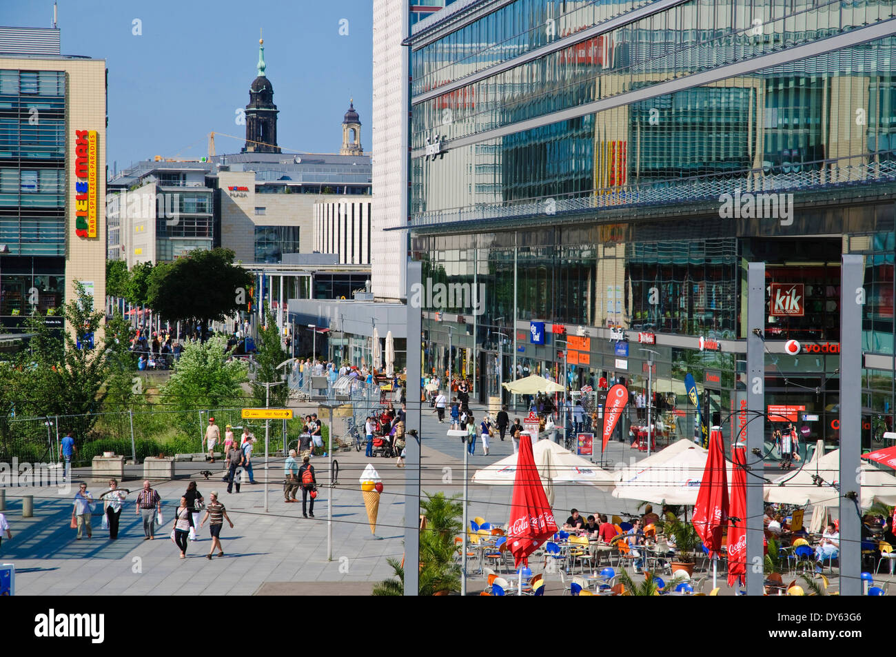wiener platz and prager strasse pedestrian zone and shopping street stock photo royalty free. Black Bedroom Furniture Sets. Home Design Ideas