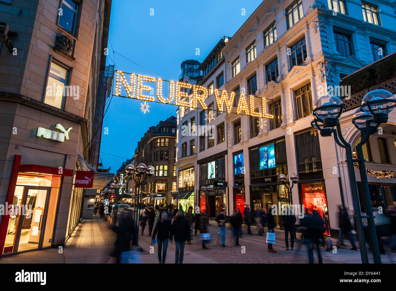 shopping street in hamburg called neuer wall at christmas time stock photo royalty free image. Black Bedroom Furniture Sets. Home Design Ideas
