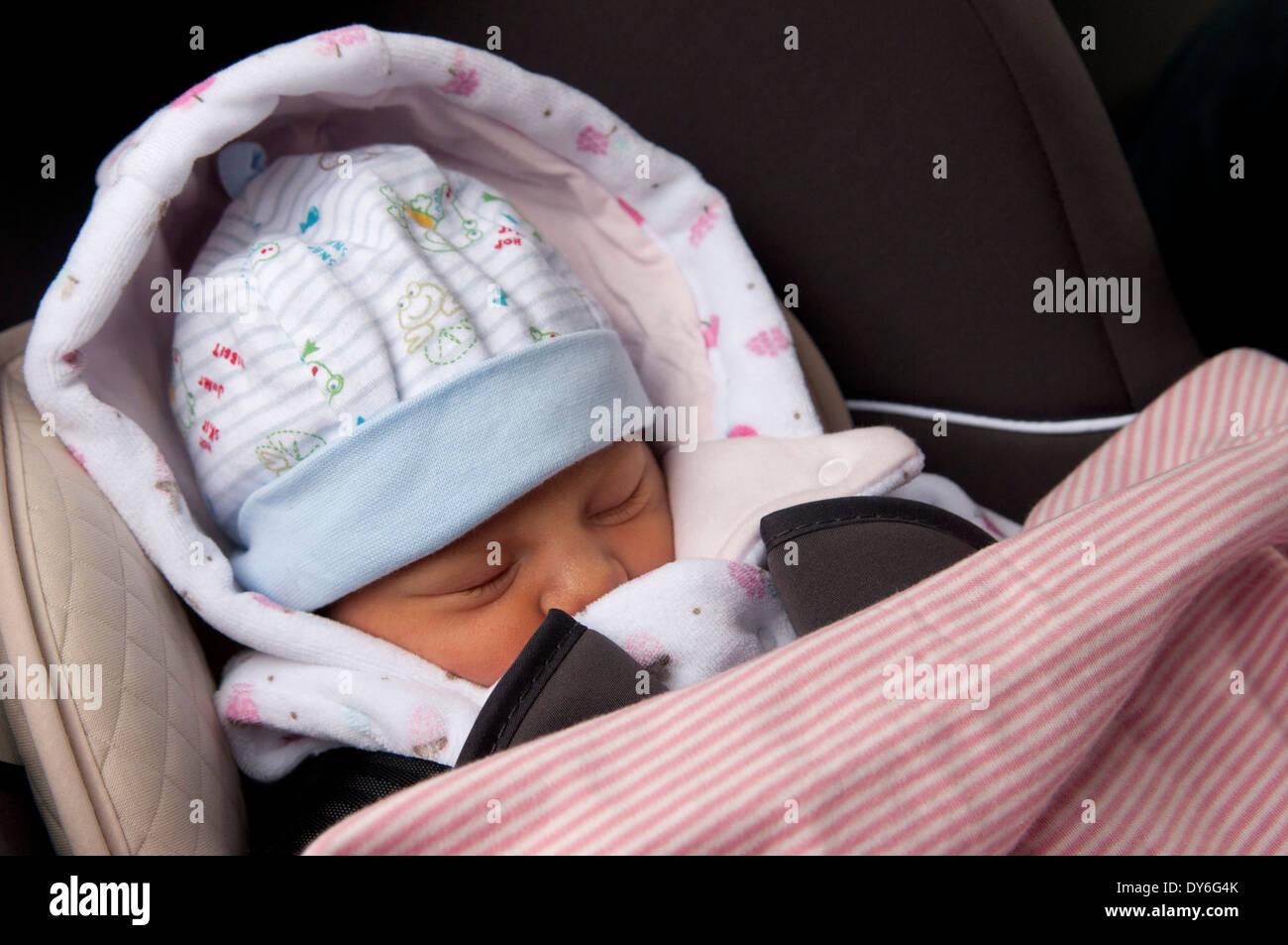 Newborn Baby Girl Day Old Asleep Car Seat Leaving