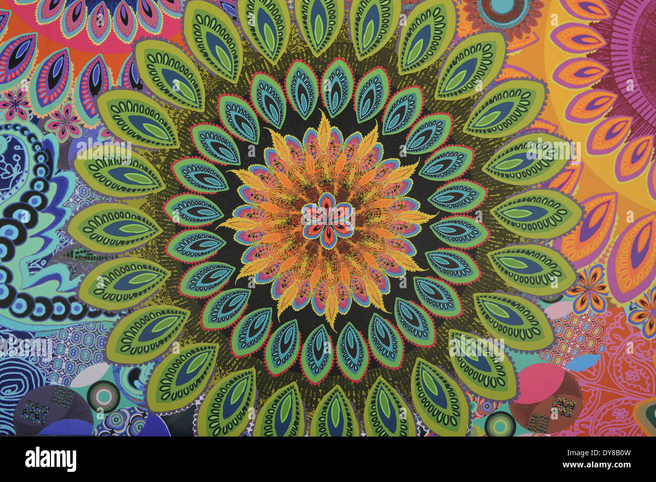 Background texture colors flower power psychedelic for Mural mandala