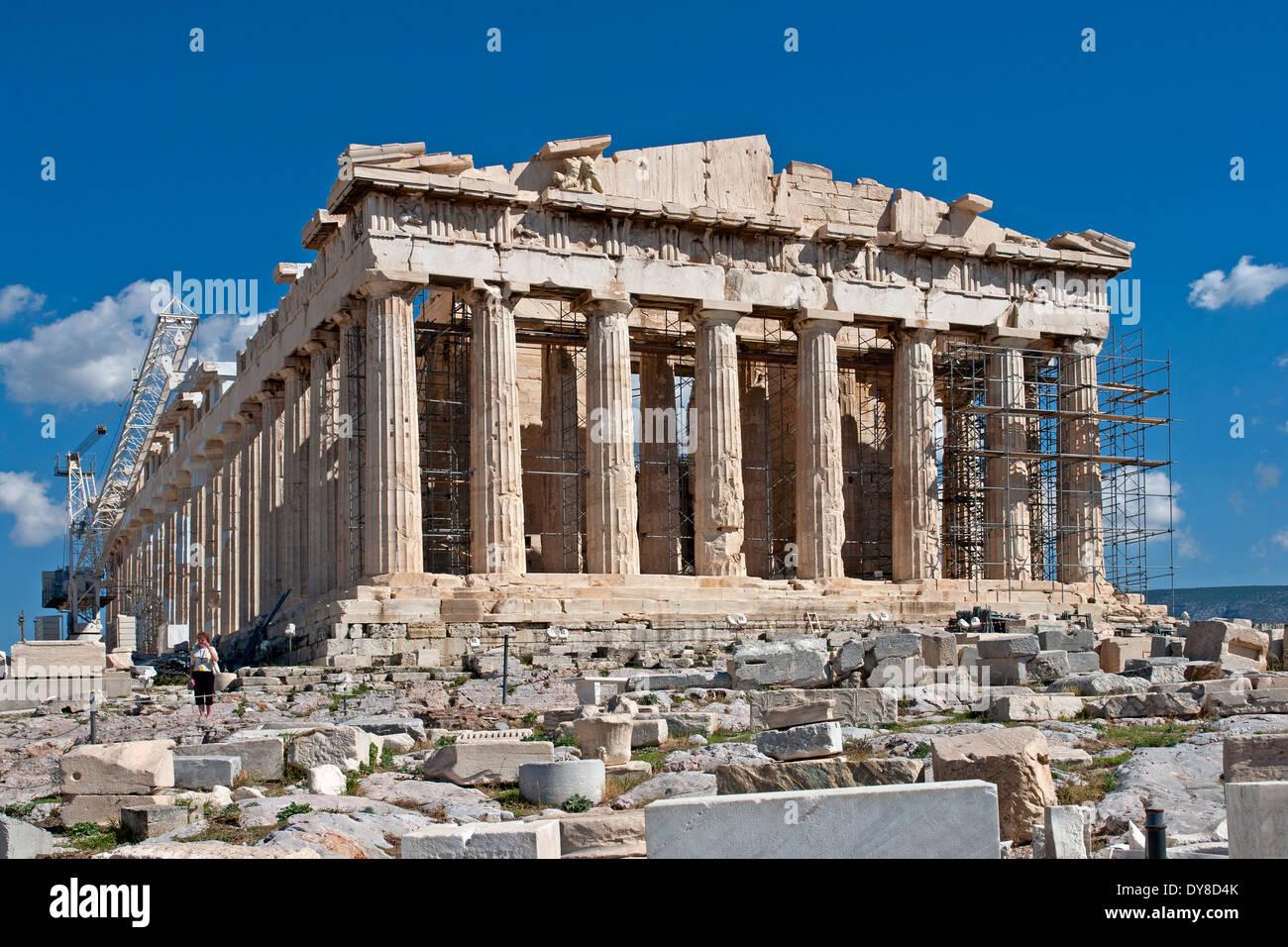The Parthenon On Acropolis Athens Greece Undergoing Restoration