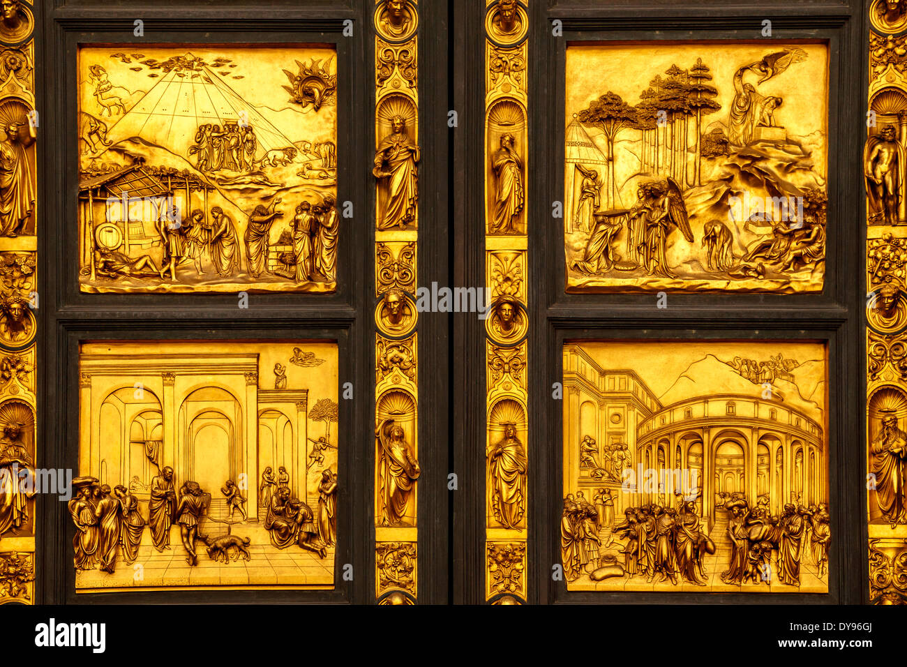 The Florence Baptistery Doors Florence Italy & The Florence Baptistery Doors Florence Italy Stock Photo ... Pezcame.Com